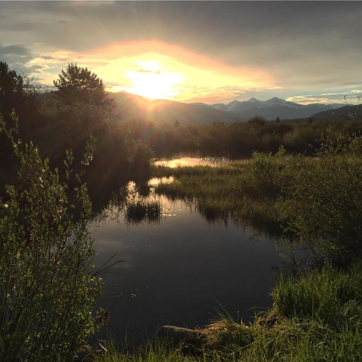 Sun-up over the Meadow Creek wetlands in Frisco, Colorado.